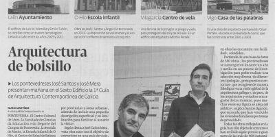 Entrevista en el Diario de Pontevedra con motivo de la presentación de la Guía de arquitectura contemporánea de Galicia
